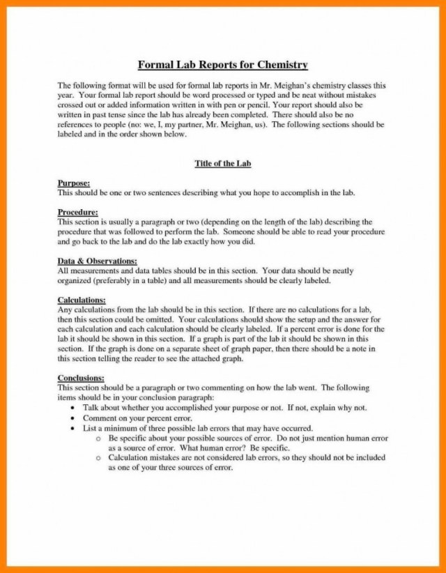 chemistry lab report example university