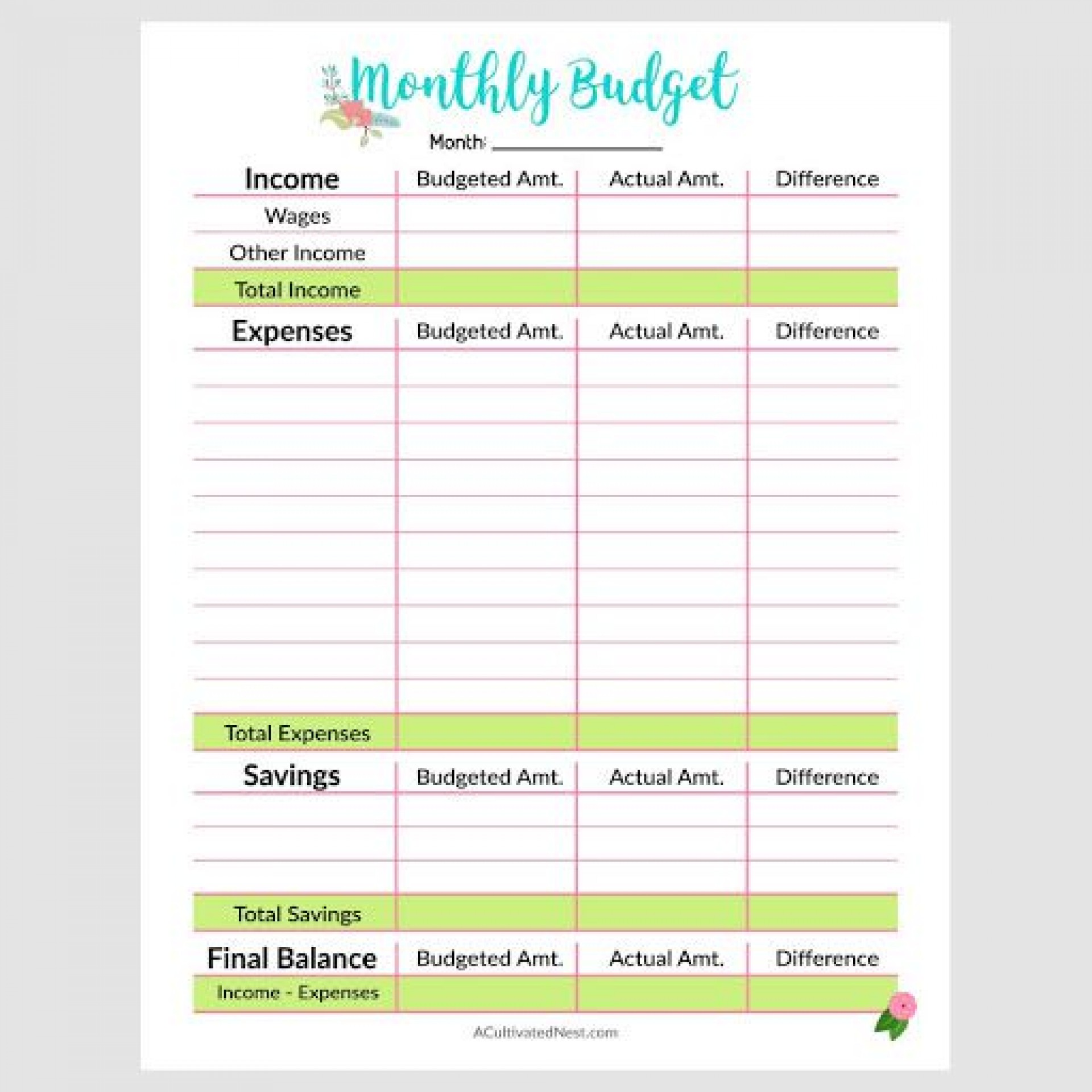 Simple Budget Template Printable Addictionary