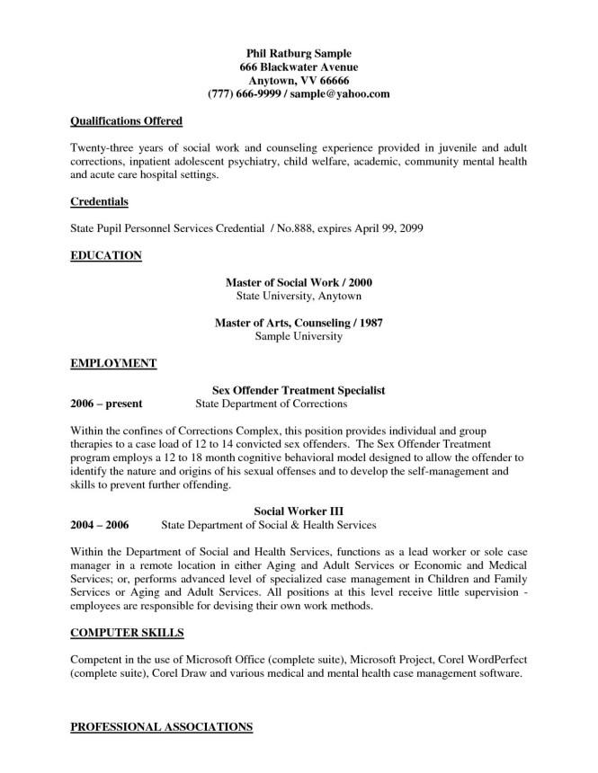 Entry Level Resume Template Social Work