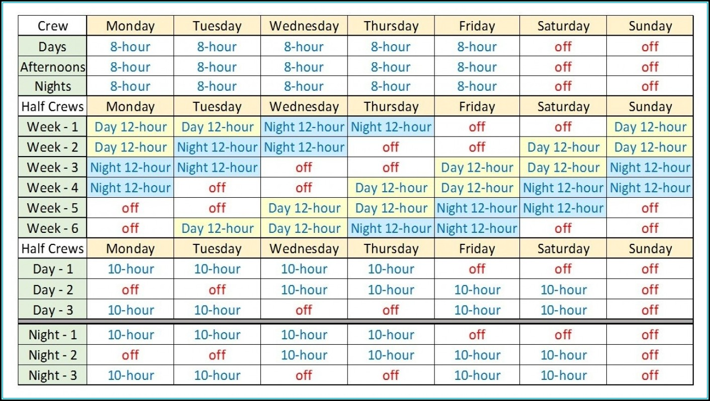 Rotating Shift Schedule Template Hour Addictionary