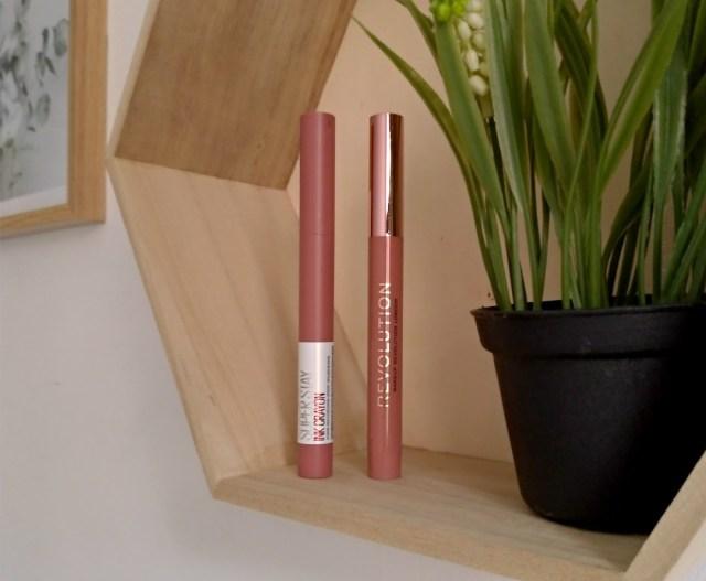 Maybelline staymatte ink crayon VS velvet kiss makeup revolution