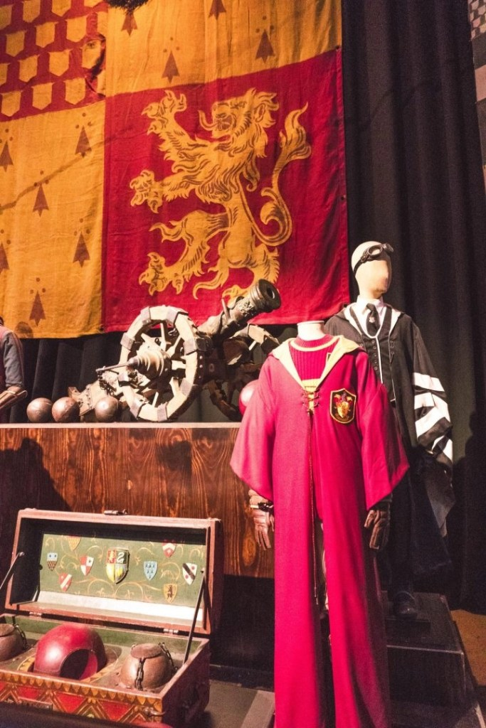 Quidditch robes and flag at the Warner Bros Harry Potter Studio Tour London