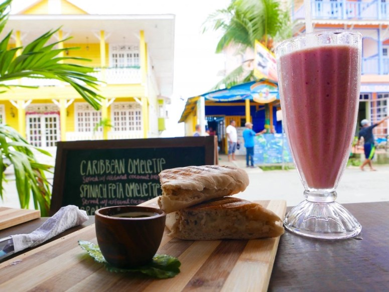 budget winter break destination sandwich and smoothie bocas del toro panama