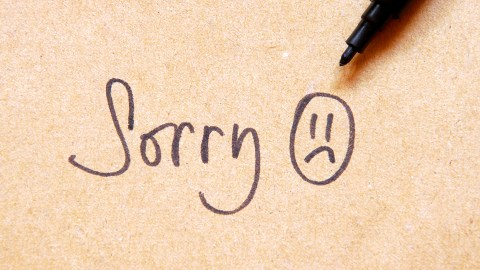 Sorry, written on a bulletin board — shame can make people with ADHD feel like they constantly need to apologize.