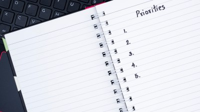 A notebook to write down priorities for ADHD stress management.