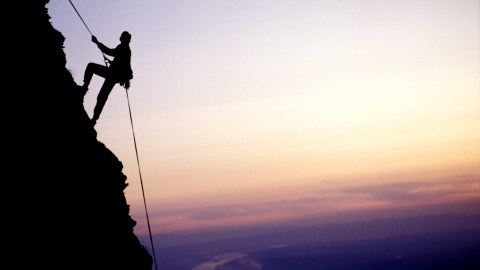 A climber on a difficult ascent of a mountain, a good depiction of what adhd feels like.