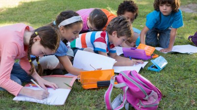 Kids with ADHD engaging in educational activities outside