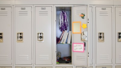 Open locker organized by a student with ADHD