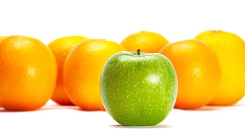 A green apple in a group of oranges illustrates differences. Kids and adults with ADHD are very accepting.