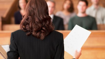 Lawyer with ADHD speaking to courtroom
