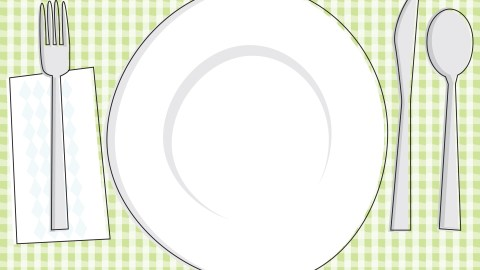 An illustration of a table setting. Setting the table the night before is an organization hack that saves time at dinner.