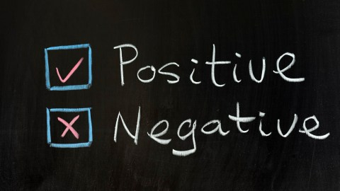 "Drawing of the words ""Positive"" and ""Negative"" on a chalkboard, the different kinds of self talk"