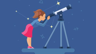 A teen with ADHD looking through a telescope, empowering herself to reach for the stars