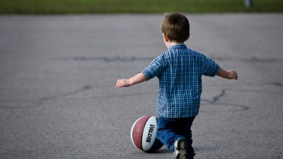 ADHD toddler chasing basketball