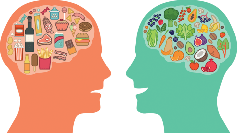 silhouettes of two heads with brains filled with unhealthy and ADHD-friendly foods