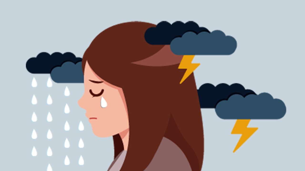 woman overcome by stormy moods of emotional distress syndrome