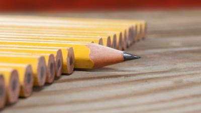 One sharp pencil among unsharpened pencils.