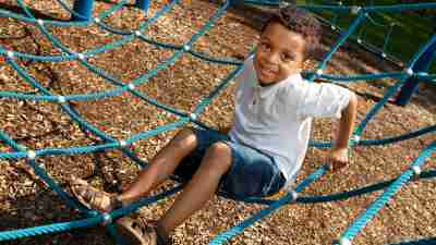 A boy plays at recess because movement is a great strategy for helping ADHD students learn.