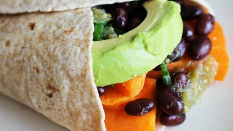 A two-bean burrito is a healthy meal idea for families with ADHD.