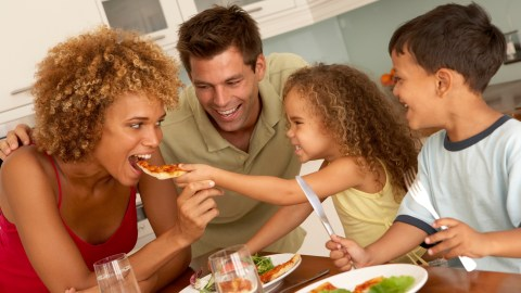A family enjoying the meal they planned together