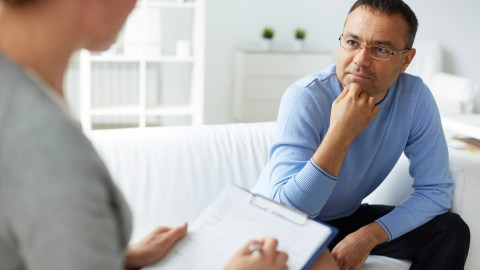 A man with social anxiety disorder visits his doctor