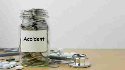 A jar of coins labeled accident can save the day if you've been spending too much money.