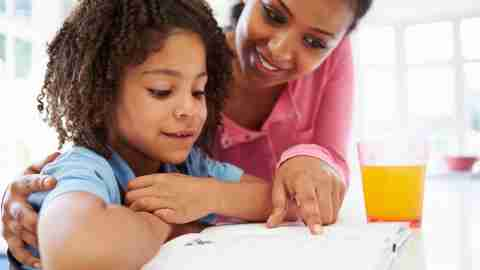 Mom helping her ADHD daughter with homework