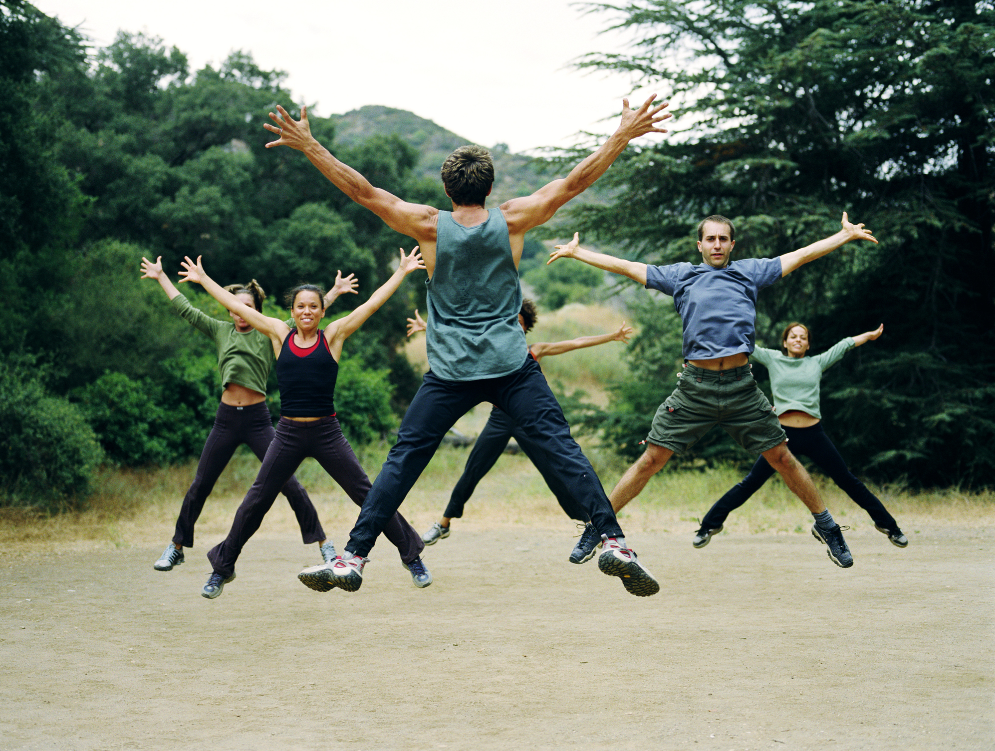 A group of people with ADHD exercise as part of ADHD treatment plan.
