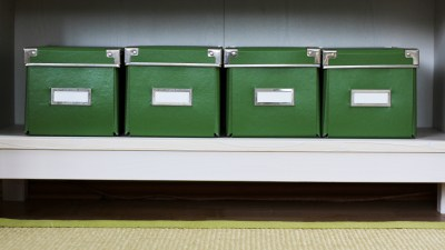 Labeled storage containers are a must have for cleaning and organizing to avoid clutter and misplacing important items.