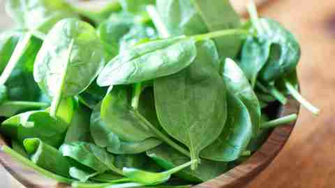 A bowl of spinach has a high iron content, which may help ADHD symptoms.