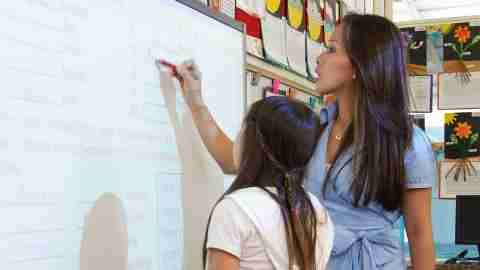 A child with ADHD stands at the board with her teacher