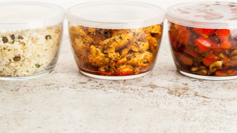 Food packed in different Tupperware containers to relieve stress during the holidays