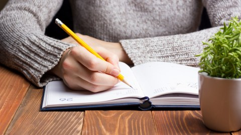 A woman writes anger managent strategies for kids in a planner.