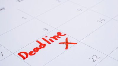 A calendar with a marked deadline can help people with ADHD manage time.