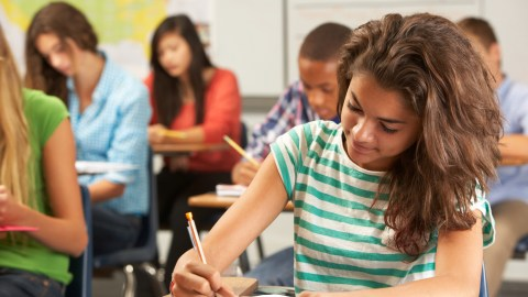 A student writing her assignment down, a good school organization idea.