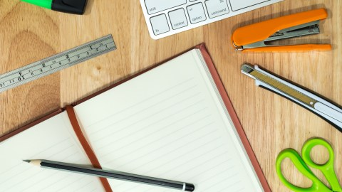Many different school supplies shown here must be on available when needed in a good school organization system.