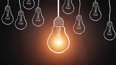 Illustration of light bulbs symbolizing big ideas in career of ADHD adult