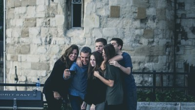 Family with ADHD posing for selfie