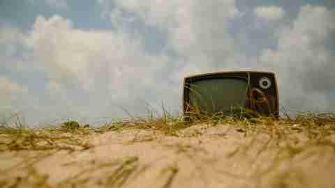 Bex Taylor-Kraus: Vintage Television on Beach
