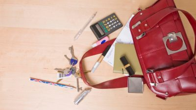 The disorganized purse of a woman with ADHD