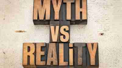 Block letters spelling out ADHD myths vs. reality