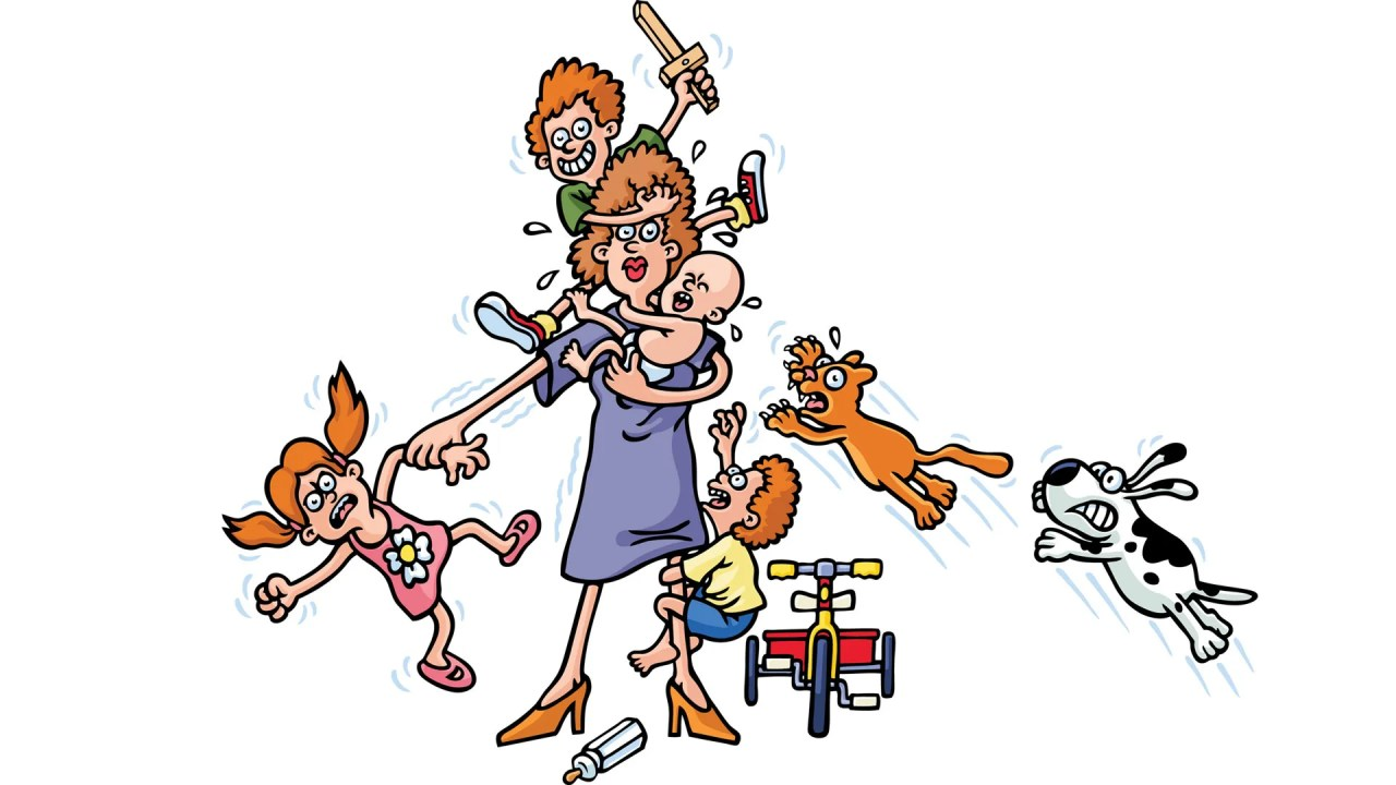 A mother with ADHD, struggling to hold all her children and juggle responsibilities