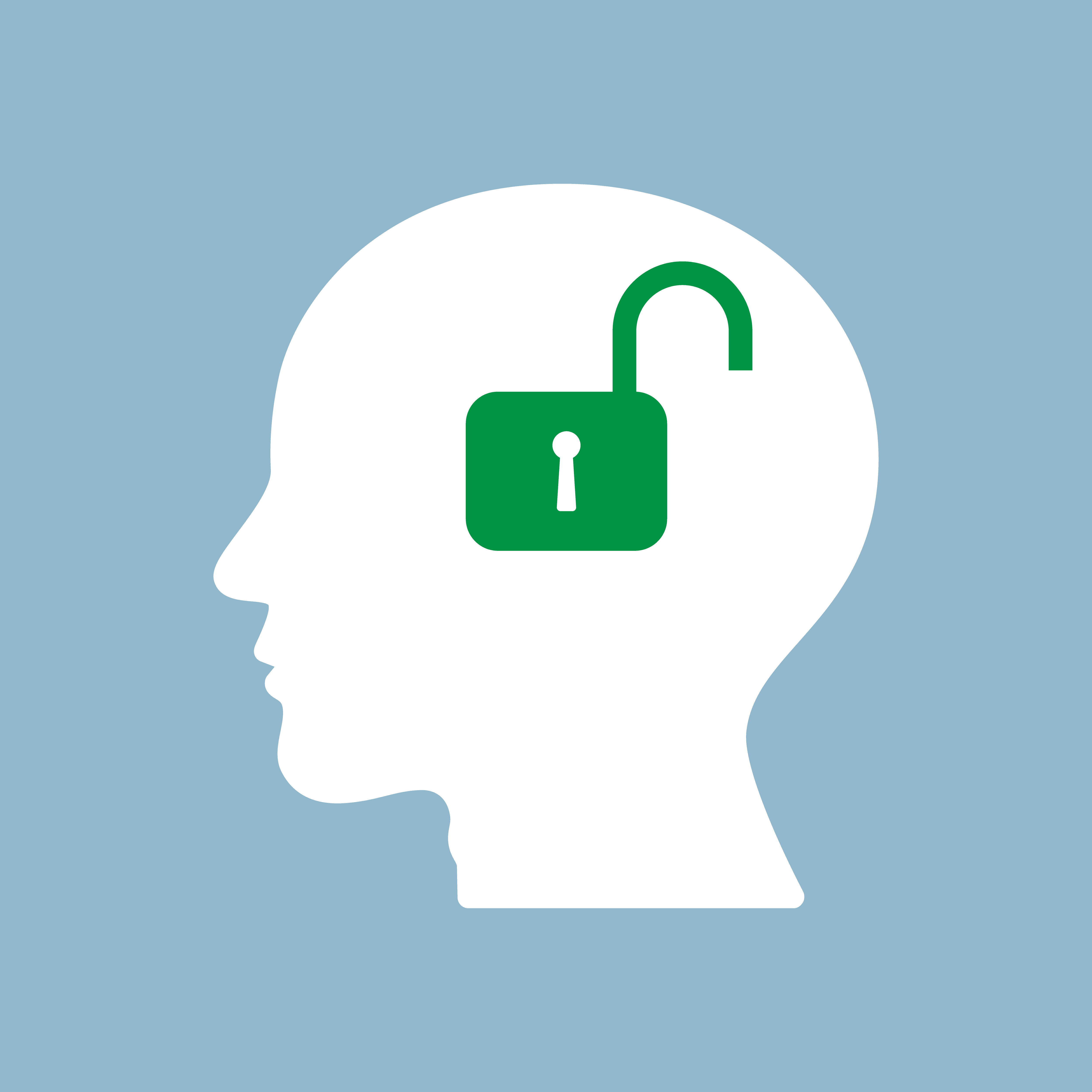 An unlocked lock in place of a brain, representing an ADHD misdiagnosis that was corrected