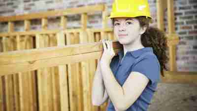 Teen girl with ADHD working summer construction job