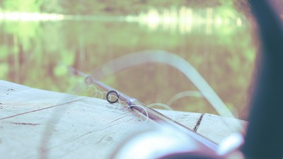 Fishing Pole & Line on Dock during mother and son outing