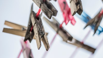Clothespins on a line to help a child get organized