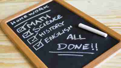 A checklist with different school subjects, written on a chalkboard, that would help a kid who was not turning in homework