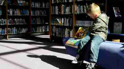 Boy Reading Children's Books