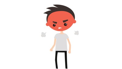 Illustration of angry ADHD boy with red face