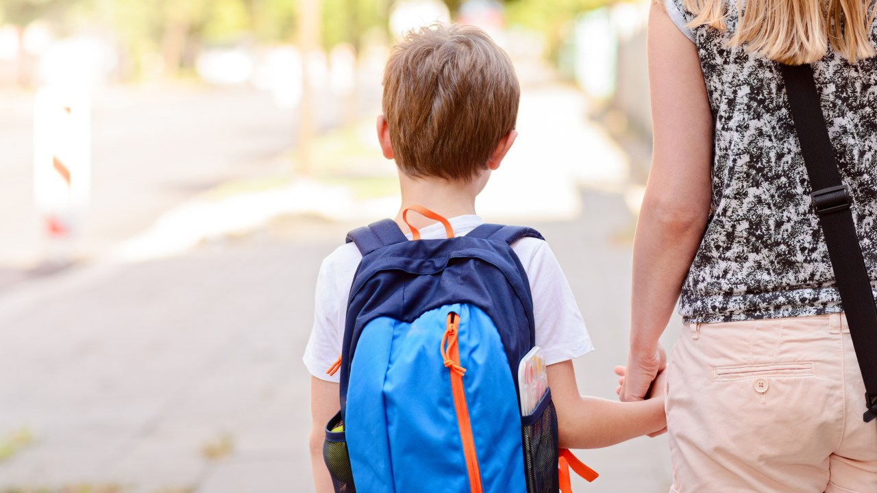 Boy with ADHD going to school